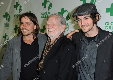 Stock Photo of From left, Jacob Micah Nelson, Willie Nelson and Lukas Nelson arrive at Global Green USA's 10th Annual Pre-Oscar Party at the Avalon, on in Los Angeles