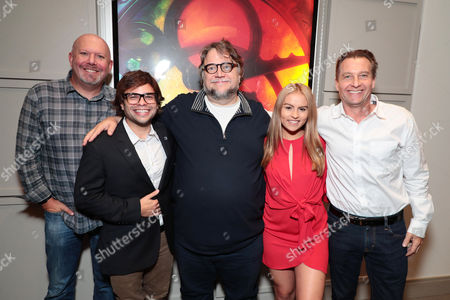 Stock Image of Exec. Producer Marc Guggenheim, Charlie Saxton, Creator/Exec. Producer Guillermo del Toro, Lexi Medrano and Exec. Producer Chad Hammes