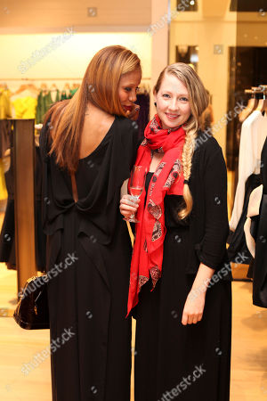 Stock Image of From left, Dejah Gomez and Amy Leonard pose during the Halston Heritage boutique opening at Fashion Island, in Newport Beach, Calif