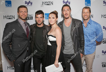 "Adam Copeland, Lucas Bryant, Emily Rose, Eric Balfour and Colin Ferguson attend the Entertainment One ""Haven"" Party at Comic Con on in San Diego"