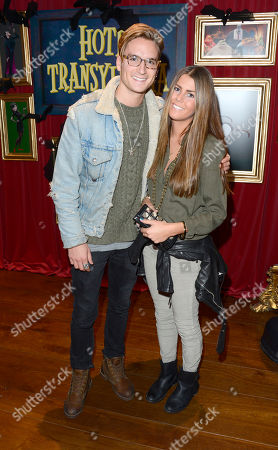 Ollie Proudlock and Carolina Holst are seen ahead of the gala screening of upcoming cinema release Hotel Transylvania at the Soho Hotel on in London, UK