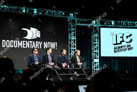 Fred Armisen, from left, Bill Hader, Rhys Thomas and Alex Buono participate in a TCA panel discussion for Documentary Now! at the Beverly Hilton Hotel, in Beverly Hills, Calif