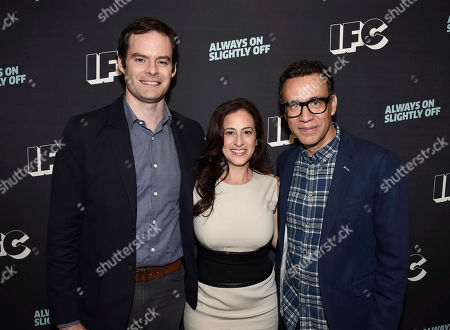 Bill Hader, from left, Jennifer Caserta, IFC president, and Fred Armisen attend the 2016 TCA Panels at the Beverly Hilton Hotel, in Beverly Hills, Calif