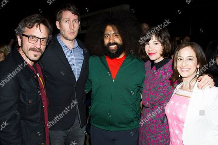 IMAGE DISTRIBUTED FOR IFC - From left, Marc Maron, Scott Aukerman, Reggie Watts, Carrie Brownstein and IFC President Jennifer Caserta attend IFC's 2013-14 Upfront Unexpectaganza on in New York City, New York