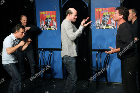 From left, Peter Hulne, Michael Coleman, David Koechner, Pat Finn and Paul Vaillancourt of Beer Shark Mice pose for a photo before performing during the 10th Annual LA Improv Festival at iO West on in Los Angeles