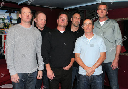 From left, David Koechner, Michael Coleman, Pat Finn, Paul Vaillancourt, Peter Hulne, and Neil Flynn of Beer Shark Mice pose for a photo before performing during the 10th Annual LA Improv Festival at iO West on in Los Angeles