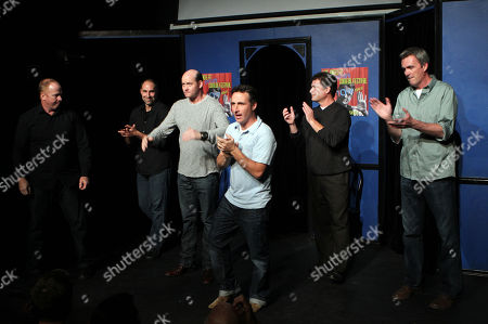 From left, Michael Coleman, Paul Vaillancourt, David Koechner, Peter Hulne, Pat Finn and Neil Flynn of Beer Shark Mice perform during the 10th Annual LA Improv Festival at iO West on in Los Angeles