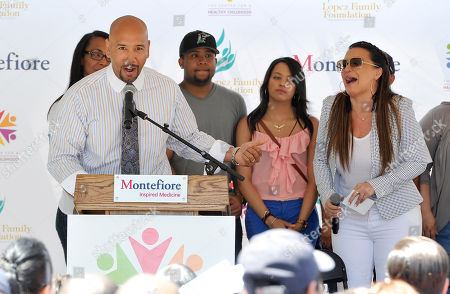 Bronx Borough President Ruben Diaz Jr. speaks at the Healthy Childhood initiative launch event sponsored by the Montefiore Health System in partnership with the Lopez Family Foundation at the Montefiore Medical Center, in New York