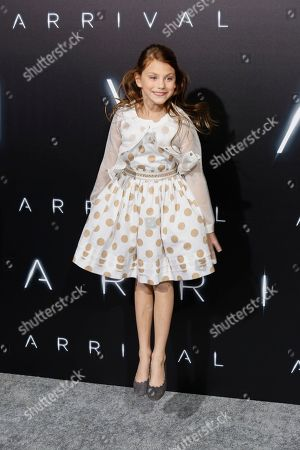 """Abigail Pniowsky arrives at the LA Premiere of """"Arrival"""" at the Regency Village Theatre, in Los Angeles"""