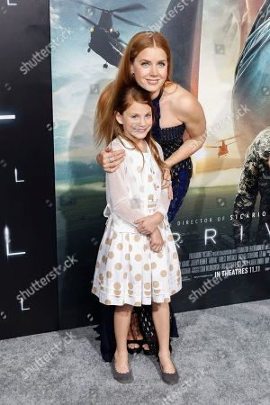 """Abigail Pniowsky, left, and Amy Adams arrive at the LA Premiere of """"Arrival"""" at the Regency Village Theatre, in Los Angeles"""