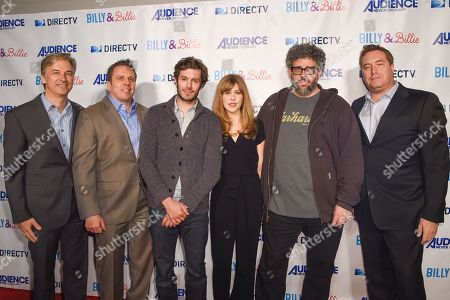 "Dan York, from left, Chris Long, Adam Brody, Lisa Joyce, Neil Labute and Bart Peters arrive at the premiere of ""Billy & Billie"" at The Lot, in West Hollywood, Calif"