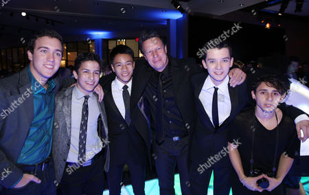 "From left, Cameron Gaskins, Aramis Knightm Brandon Soo Hoo, Gavin Hood, Asa Butterfield, and Moises Arias attend the after party for the premiere of ""Ender's Game"" at the TCL Chinese Theatre on in Los Angeles"
