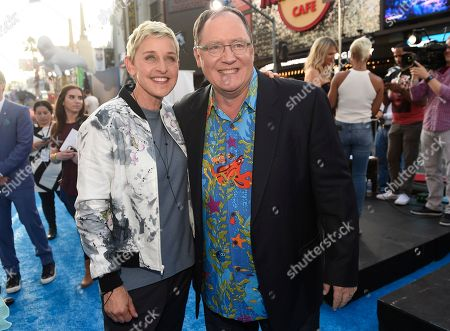 "Ellen DeGeneres, left, and executive producer John Lasseter arrive at the premiere of ""Finding Dory"" at the El Capitan Theatre, in Los Angeles"