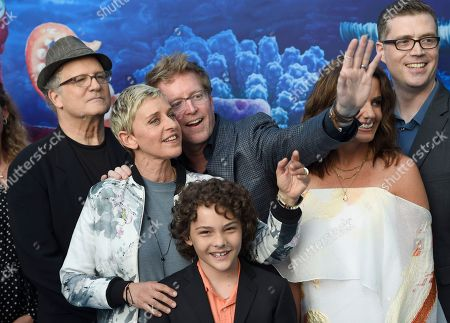 "Albert Brooks, from left, Ellen DeGeneres, Hayden Rolence, writer/director Andrew Stanton, producer Lindsey Collins and co-director Angus MacLane arrive at the premiere of ""Finding Dory"" at the El Capitan Theatre, in Los Angeles"