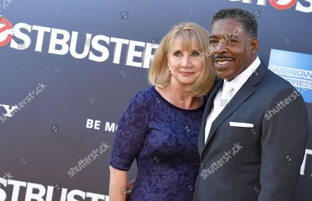 """Stock Image of Linda Kingsberg, left, and Ernie Hudson arrive at the Los Angeles premiere of """"Ghostbusters"""" at the TCL Chinese Theatre on"""