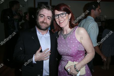 "Derek Waters, left, and Kate Flannery attend the after party for the LA Premiere of ""I Am Chris Farley"" at the Linwood Dunn Theater, in Los Angeles"