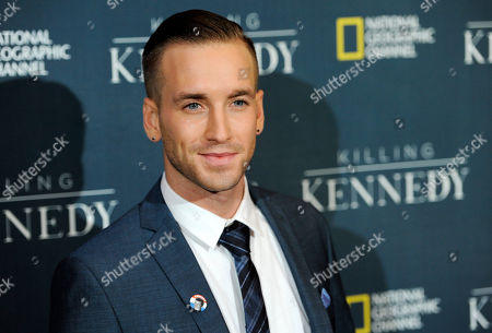 """Will Rothhaar, who plays Lee Harvey Oswald in the film """"Killing Kennedy,"""" poses at the premiere of the film at the Saban Theatre on in Beverly Hills, Calif"""