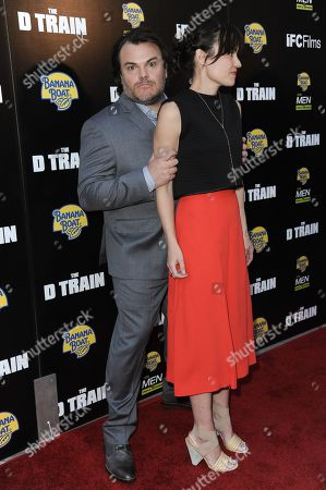 """Jack Black and Tanya Haden arrive at the LA Premiere of """"The D Train"""" held at Arclight Cinemas - Hollywood, in Los Angeles"""