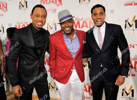 "Terrence Jenkins, left, and Michael Ealy, right, cast members in ""Think Like A Man Too,"" pose with the film's producer William Packer at the premiere of the film on in Los Angeles"