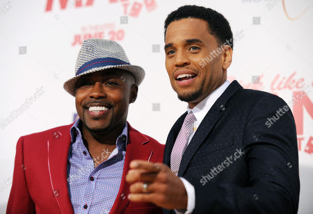 "Michael Ealy, right, a cast member in ""Think Like A Man Too,"" poses with the film's producer William Packer at the premiere of the film on in Los Angeles"