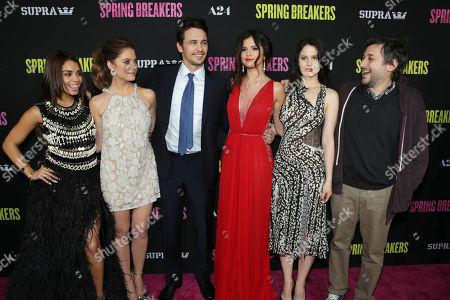 "Vanessa Hudgens, Ashley Benson, James Franco, Selena Gomez, Rachel Korine and Director Harmony Korine at the LA premiere of ""Spring Breakers"" at the ArcLight Hollywood on in Los Angeles"