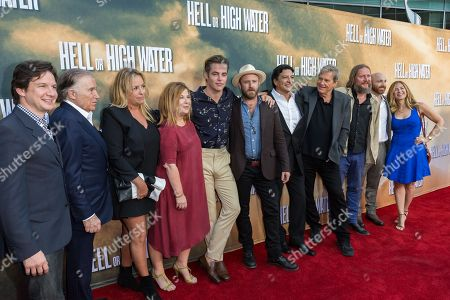 "John Penotti, from left, Sidney Kimmel, Julie Yorn, Chris Pine, Ben Foster, Gil Birmingham, Jeff Bridges, David Mackenzie, and Rachel Shane arrive at the special screening of ""Hell or High Water"" at the Arclight Hollywood, in Los Angeles"