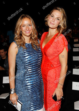 Coralie Paul and Molly Sims attend the J. Mendel collection, during Mercedes-Benz Fashion Week in New York