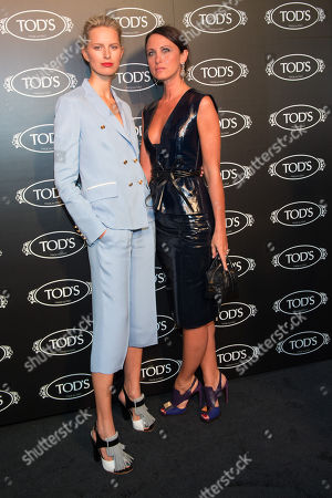 Karolina Kurkova and Alessandra Facchinetti arrive at Tod's Boutique Re-Opening party, in New York
