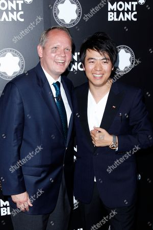 Pianist Lang Lang poses for a photo with CEO of Montblanc North America Jan Patrick Schmitz at the Montblanc de la Culture Arts Patronage Award honoring Quincy Jones at Chateau Marmont, in Los Angeles