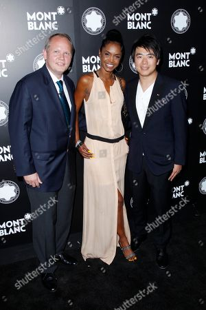 CEO of Montblanc North America Jan Patrick Schmitz, actress Kim Porter and pianist Lang Lang attends Montblanc de la Culture Arts Patronage Award honoring Quincy Jones at Chateau Marmont, in Los Angeles