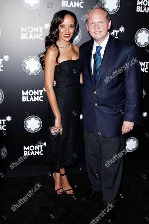 Supermodel Selita Ebanks and CEO of Montblanc North America Jan Patrick Schmitz attend Montblanc de la Culture Arts Patronage Award honoring Quincy Jones at Chateau Marmont, in Los Angeles