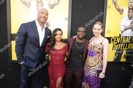 "Dwayne Johnson, Danielle Nicolet, Kevin Hart and Amy Ryan seen at New Line Cinema's Los Angeles Premiere of ""Central Intelligence"" at Regency Village Theater, in Los Angeles"