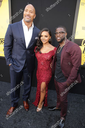 "Dwayne Johnson, Danielle Nicolet and Kevin Hart seen at New Line Cinema's Los Angeles Premiere of ""Central Intelligence"" at Regency Village Theater, in Los Angeles"