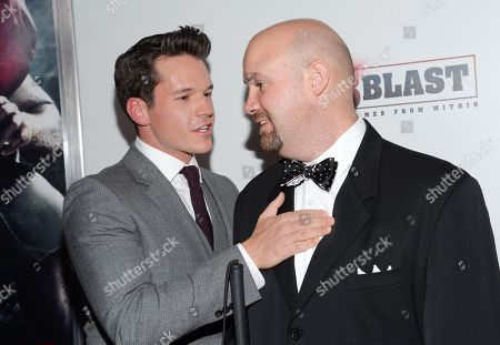 """Actor Mark Hapka, left, and the real life inspiration for the film, Travis Freeman, attend the premiere of """"23Blast"""" at the Regal Cinemas E-Walk Theater on in New York"""