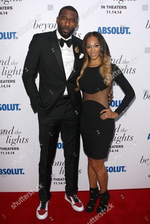 """N.Y. Knicks player and producer Amar'e Stoudemire and Alexis Welch attend the premiere of """"Beyond The Lights"""" at the Regal Union Square, in New York"""