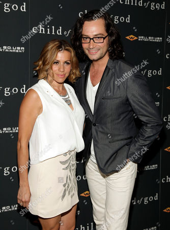 """Actress Angel Reed, left, and actor Constantine Maroulis, right, attend the premiere of """"Child Of God"""", in New York"""