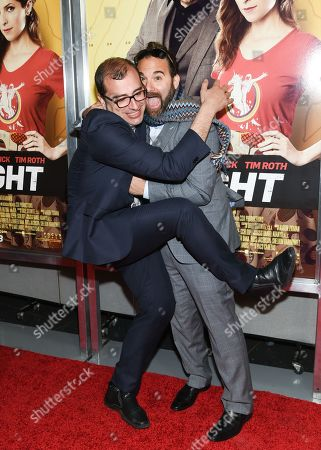 """Director Paco Cabezas, left, and producer Bradley Gallo attend the premiere of """"Mr. Right"""" at AMC Lincoln Square, in New York"""