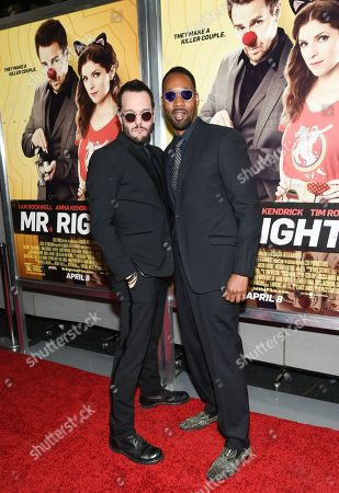 """Actors Michael Eklund, left, and RZA attend the premiere of """"Mr. Right"""" at AMC Lincoln Square, in New York"""