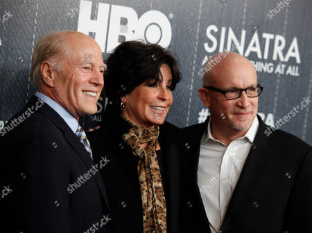 """Frank Marshall, from left, Tina Sinatra and Alex Gibney attend the premiere of HBO's """"Sinatra: All Or Nothing At All"""" at the Time Warner Center, in New York"""