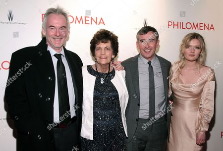 """From left, author Martin Sixsmith, film subject Philomena Lee, actor Steve Coogan and actress Sophie Kennedy Clark attend the premiere of """"Philomena,"""" hosted by The Weinstein Company,, in New York"""