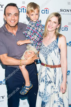 """Hank Azaria, his wife Katie Wright and their son Hal attend """"The Smurfs 2"""" premiere on in New York"""