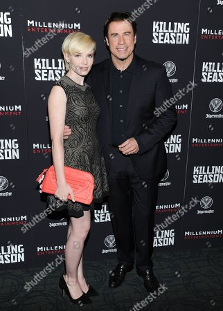 "Actress Elizabeth Olin and actor John Travolta attend a special screening of ""Killing Season"" hosted by Jagermeister at the Sunshine Landmark Theater on in New York"