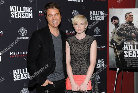 "Director Mark Steven Johnson and actress Elizabeth Olin attend a special screening of ""Killing Season"" hosted by Jagermeister at the Sunshine Landmark Theater on in New York"