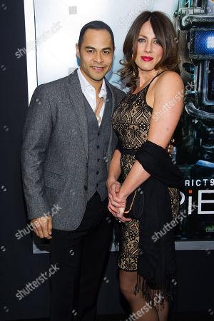 "Jose Pablo Cantillo and Kristi Cantillo attend the world premiere of ""Chappie"" at the AMC Loews Lincoln Square, in New York"