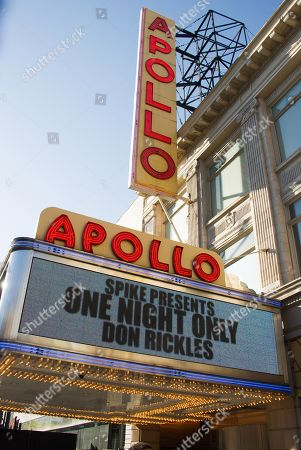 The marquee of the Apollo Theater is seen for the taping of One Night Only: An All-Star Tribute To Don Rickles on in New York
