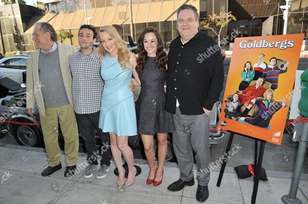 """From left, George Segal, Troy Gentile, Wendi McLendon-Covey, Hayley Orrantia, and Jeff Garlin arrive at Paley Center Presents """"The Goldbergs: Your Trip To The 1980's"""" on in Beverly Hills, Calif"""