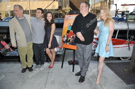 """From left, George Segal, Troy Gentile, Hayley Orrantia, Jeff Garlin, and Wendi McLendon-Covey arrive at Paley Center Presents """"The Goldbergs: Your Trip To The 1980's"""" on in Beverly Hills, Calif"""