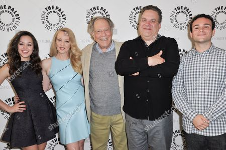 """From left, Hayley Orrantia, Wendi McLendon-Covey, George Segal, Jeff Garlin, and Troy Gentile arrive at Paley Center Presents """"The Goldbergs: Your Trip To The 1980's"""" on in Beverly Hills, Calif"""