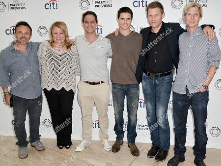 """From left, Danny Canon, Julie Plec, Greg Berlanti, Robbie Amell, Mark Pellegrino, and Phil Klemmer arrive at the PaleyFest Previews: Fall TV show """"The Tomorrow People"""" at The Paley Center for Media on in Beverly Hills, Calif"""