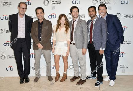"From left, Rob Greenberg, Tony Shalhoub, Rebecca Breeds, Chris Smith, Kal Penn, and Jerry O'Connell arrive at the PaleyFest Previews: Fall TV show ""We Are Men"" at The Paley Center for Media on in Beverly Hills, Calif"